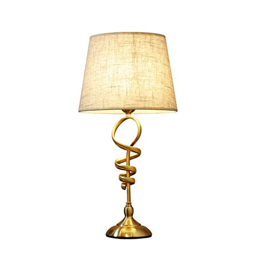 WYH Luz Mesa de Noche Shade Lámparas de Mesa Tradicional Mesilla de Noche de la lámpara de Metal de Oro Desplazamiento de Hierro Afilado Crema Tambor Sala Familiar Dormitorio LED Lámpara