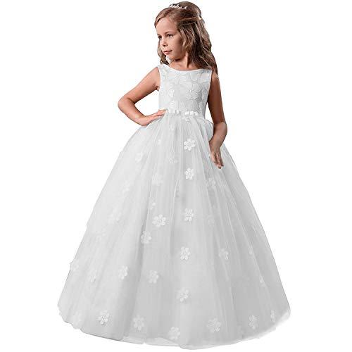 TTYAOVO Ragazze Spettacolo della Principessa Fiore Dress Bambini Prom Puffy Sfera di Tulle Abiti Dimensioni Taglia(170) 13-14 Anni 363 Bianco