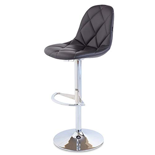 Zuri Furniture Black Romy Adjustable Height Swivel Armless Bar Stool