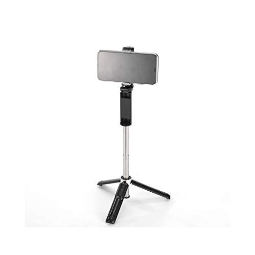KHUY Palo de selfie multifunción con trípode, soporte flexible para teléfono celular para escritorio, soporte en vivo, multifunción, ajustable, soporte para teléfono móvil para vídeo (color negro).