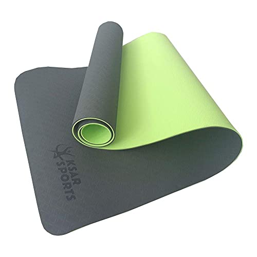 HYLL TPE Eco Friendly Friendly Mat & Free Tray Bag - Green Okt Green/Green - 183cm x 61cm x 6mm de Grosor - Antideslizante - Yoga/Pilates/Entrenamiento/Inicio/Gimnasio