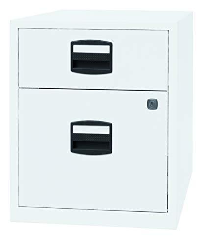 PFA bijzetkast, mobiel kantoor, ladekast op wieltjes met 2 laden van metaal, afsluitbaar in wit