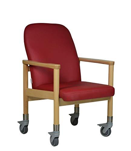 DEVITA Pflegestuhl Trippelstuhl Transportstuhl Seniorenstuhl LÜBECK mit großen Rollen - Hygiene-Kunstleder - bis 120 kg - weinrot Hygiene-Kunstleder
