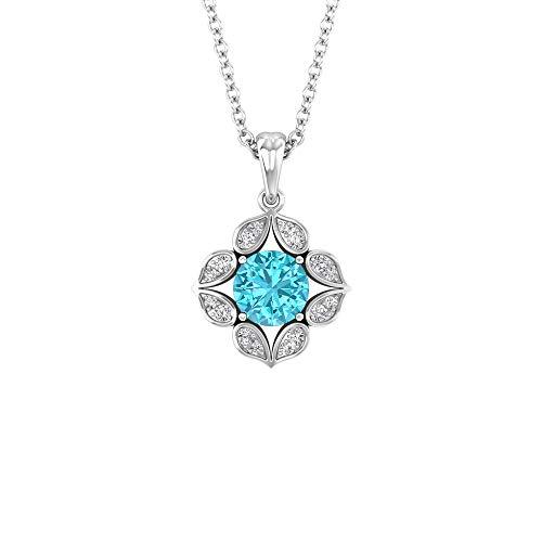 Collar de topacio azul suizo de 5 mm, collar de flores de diamante HI-SI, cuello apilable de oro, 18K Oro blanco Con cadena