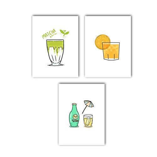 ZYHFBHFBH Pintura sobre Lienzo Té Verde Jugo de Naranja Bebida Gaseosa Comida Bocadillo Arte nórdico Carteles e Impresiones Imágenes de ParedDecoración 40x60cm (15.7