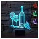 3D Rotwein - Flasche Und Glas Optische Illusions-Lampen, Tolle 7 Farbwechsel Acryl berühren Tabelle Schreibtisch-Nachtlicht mit USB-Kabel für Kinder Schlafzimmer Geburtstagsgeschenke...