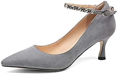 ZHZNVX Chaussures Femme Suede Suede Suede Printemps Eté Basic Escarpins Stiletto Heel noir gris 331