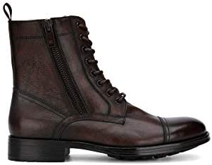 Kenneth Cole New York Men's Double Zip Lace-Up Combat Boot