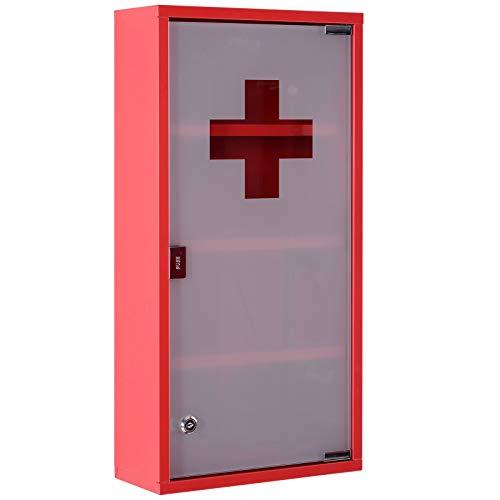 HOMCOM Armoire à Pharmacie 3 étagères 4 Niveaux verrouillable Porte Verre trempé dépoli Logo Croix 30L x 12l x 60H cm Acier INOX Rouge