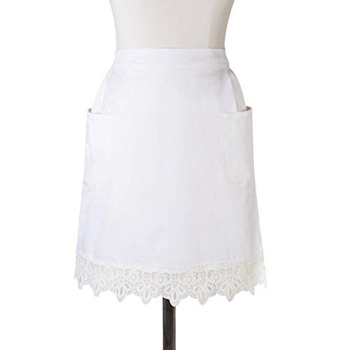 AMAVAP witte halve schorten kant Victoriaanse meid kostuum ambachtelijke taille schorten met twee zakken