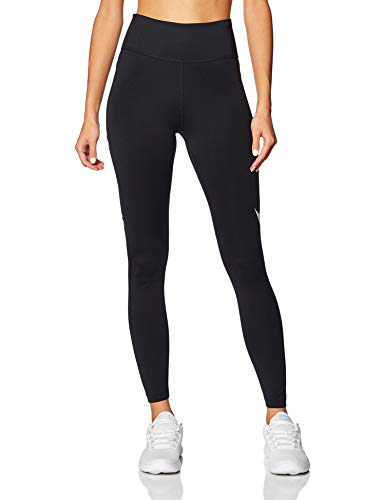 Nike Womens W Nk Tght 7_8 Swsh Run Leggings, Black/Reflective Silver, M