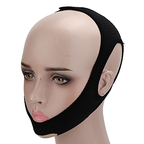 Anti-snurkriem, anti-snurkriem Verstelbare snurkbeugel Snurkreducerende anti-snurkhulpmiddel Anti-snurkbeugel Kinriem om te stoppen met snurken(Triangular Mesh Cloth Snoring Belt (Black))