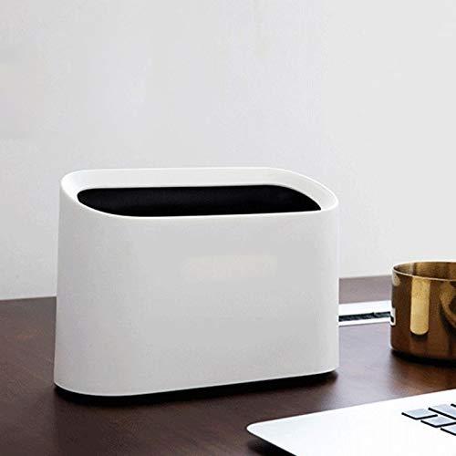 Yuxahiugljt Desktop Müllkorb Mini Abfalleimer Tabelle Home Office Shaking Abfalleimer Schreibtisch Aufbewahrungsbehälter Mülltonne Sundries Barrel Box (Color : White)