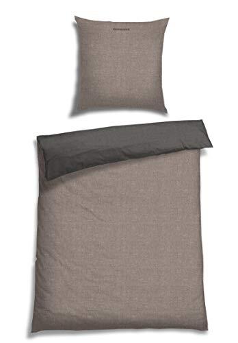 Schiesser Wendebettwäsche Doubleface Silber-Anthrazit 135x200cm, 100%Baumwolle