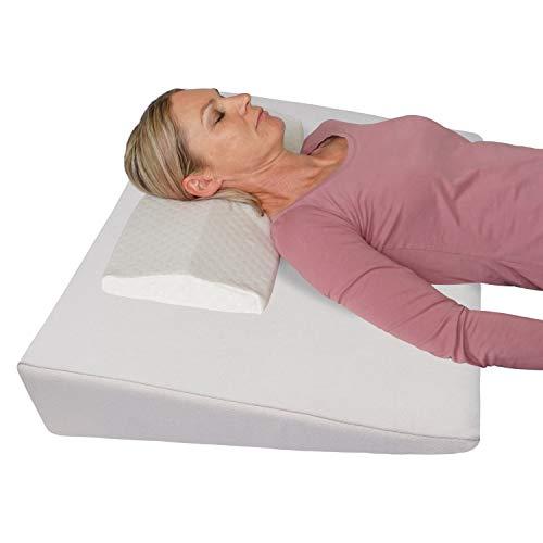 Tempratex Sängkilkudde Sömnökning + Nackkudde gratis! Ben- eller Ryggkudde för Säng och Soffa - Madrasskil, Madrassförlängning 90x60x12 cm (beige)