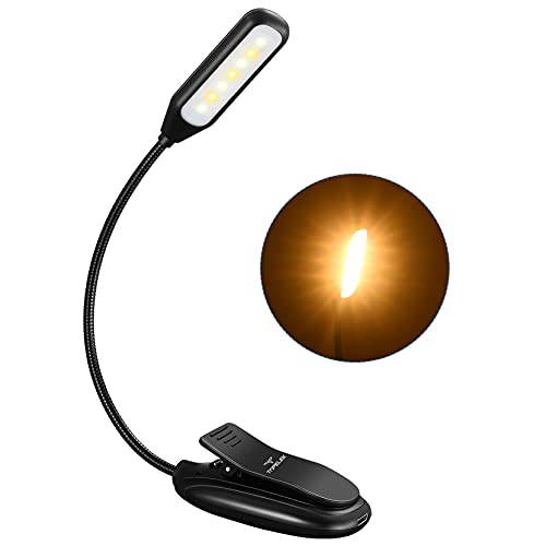 Leselampe Buch Klemme, TOPELEK 7 LED Buchlampe Bett, 3 Farbtemperatur, 3 Helligkeiten, 60H Dauerzeit, Mikro USB, LED Klemmleuchte Notenständer Licht für Nachtlesung, Reisen, eBook, Schwarz
