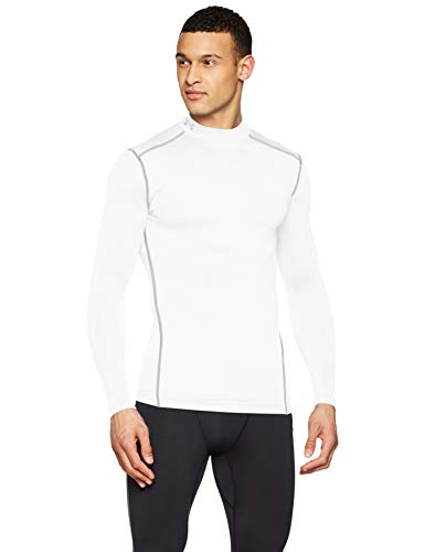 Under Armour Men's ColdGear Armour Compression Mock Long Sleeve T-Shirt, White (100)/Steel, Large