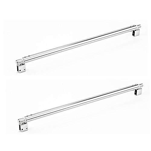 NUZAMAS - Juego de 2 soportes para pared de ducha (600 mm hasta 800 mm, barra telescópica, cristal a cristal, 25 mm, para cristal de 8 mm hasta 12 mm, brazo de acero inoxidable
