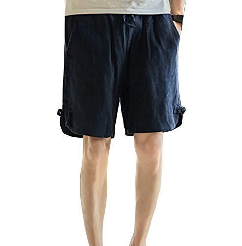 Saoye Fashion Herren Short Kurz Hosen Casual Kleidung Nner Bequme Sommer Männer Fit Pocket Jungen Strand Arbeit Regular Young Fashion (Color : Schwarz, Einheitsgröße : XXL)