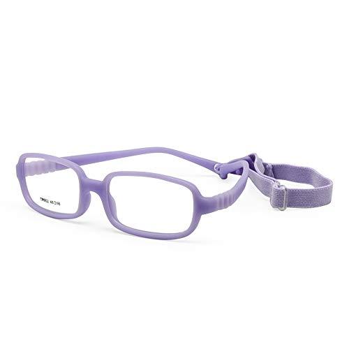 EnzoDate Kinder Brillengestell mit Gurt Größe 48, einteilige Kinderbrille mit Kordel, keine Schraube Flexible Mädchen Jungen Brille (lila)