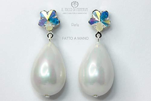 Perlenohrringe und Swarovski Kristall Handgefertigt Made in Italy - handgemacht - Mädchen Geschenk Geschenke Mädchen - Original Geschenkideen - Weihnachtsgeschenke - Geschenke für sie - Weihnachten