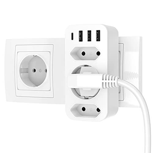 Steckdosenadapter, Keplug USB Steckdose 7 in 1, 3 Steckdosen ( 4000W ) und 3 USB Anschluss ( 2.4A ) und 1 Type-C, mehrfachsteckdose für Hause, Reise, Büro