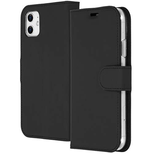 Accezz Compatible con iPhone 11 – Funda tipo billetera suave – Funda para teléfono móvil en negro [3 ranuras para tarjetas, soporte y cierre magnético]