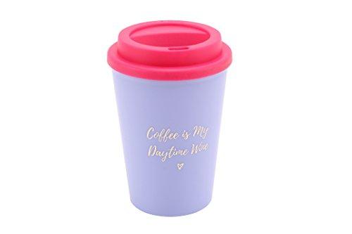 Willow & Rose Café est Mon Jour Vin' Violet isotherme Mug de voyage avec couvercle en silicone