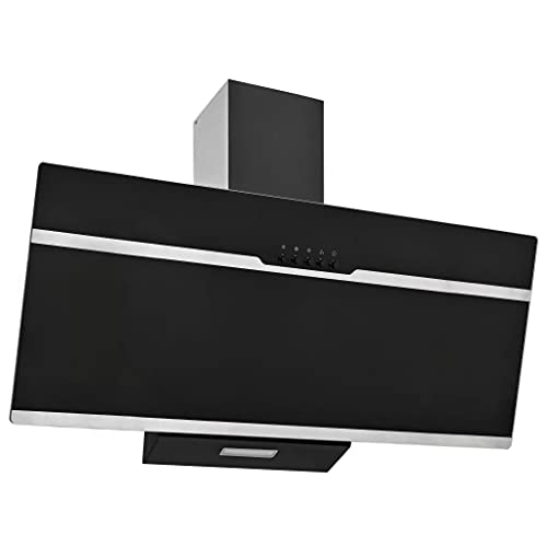vidaXL Cappa aspirante 90 cm in acciaio inox e vetro temperato nero