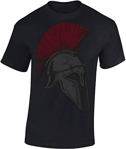 Baddery Camiseta: Spartan Helmet - Casco Esparta - Fitness T-Shirt Hombre-s y...