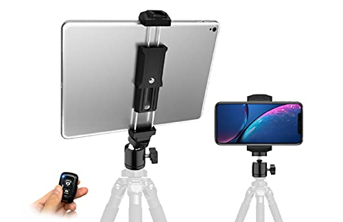 Owine iPad and Phone Tripod Mount Adapter with Remote and Swivel Ball Head, 2 in1 Design Holder Universal for Smartphone & iPad Mount,fits iPad Pro,iPad Mini, iPad Air 1 2 3 and All Cell Phones