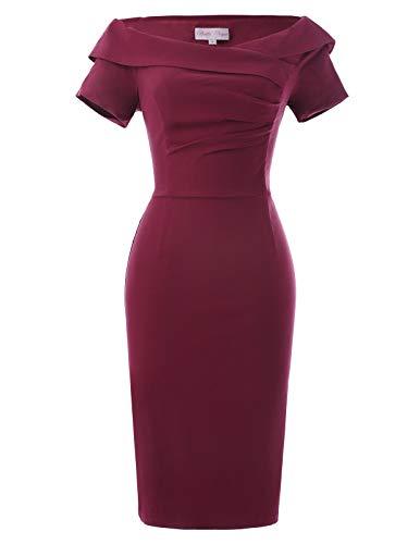 Belle Poque Kleider festlich weinrot Rockabilly Kleid Kurzarm ballkleid Partykleid Größe 32 BP158-2