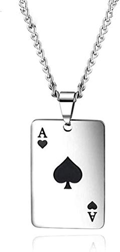 LBBYMX Co.,ltd Collar Ace of Spades Conjuntos de Joyas Collar para Hombre Corazones AT Pendientes de botón Tarjetas de póquer de Acero Inoxidable Collar de Regalo de Fiesta de la Suerte