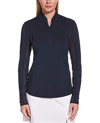 PGA TOUR Women's Standard Sun Protection Long Golf Shirt with Under Sleeve Mesh Panel, Peacoat, Medium