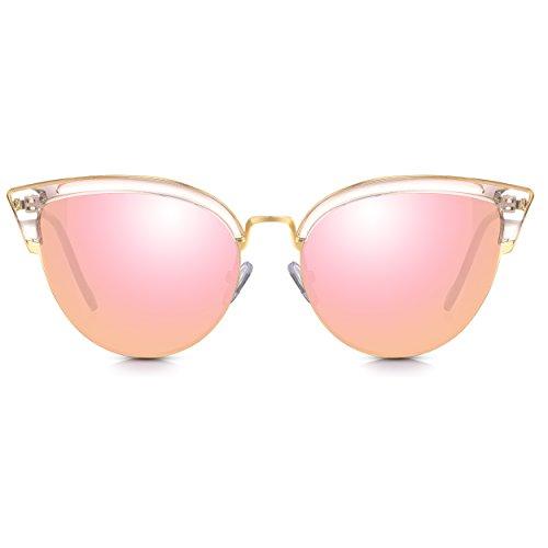 Sunglass Junkie Sexy Ladies Cat-Eye Gafas de sol. Marco de metal dorado brillante, acentos de cristal rosa ldico y lentes de espejo de color rosa que proporcionan proteccin 100% UV