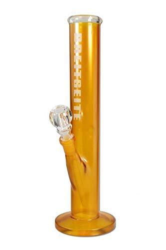 B-Seite Wasserpfeife, Glas-Bong, Glasblubber | 35 cm, NS 19 (18,8mm) | gelb | robustes BOROSILIKATGLAS | von bong-discount