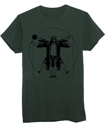 New Indastria T-Shirt Il Grande Lebowski Drugo Uomo Vitruviano Fan Art - Famosi - Uomo-XL - Verde Foresta