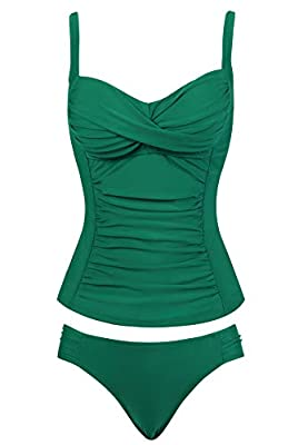 Womens Tummy Control Push Up Tankini Swimsuit Two/2 Pice Bathing Suit (Dark Green,Size 8)