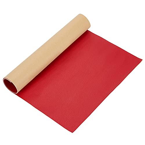 BENECREAT Parche de Reparación de Cuero Adhesivo 60x30cm para Muebles de Asiento de Coche y Sofá (Rojo, 0.8mm de Espesor)