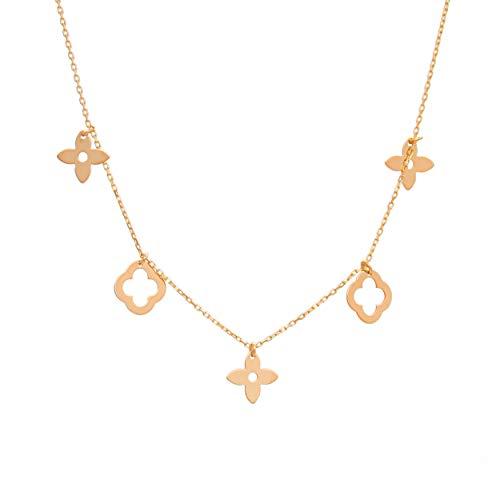 Goldene Damen Halskette 333 8k Gold Gelbgold Kette mit Anhänger Blume Gravur