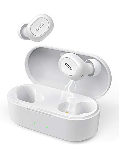 QCY T2C True Wireless Auricolari Bluetooth 5.0 Mini Auricolari Stereo in Ear Cuffie con Microfono Incorporato Totale 32 Ore Playtime Bassi Bassi Chiamate binaurali Auto Pairing (Bianco)