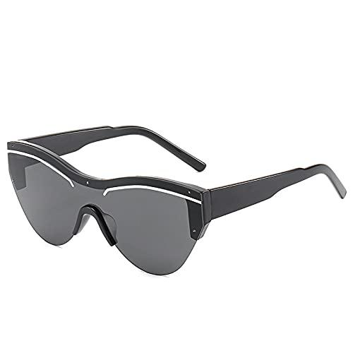 ShSnnwrl Único Gafas de Sol Sunglasses Vintage Black Cat Eye Gafas De Sol Mujeres Nuevo Lujo De Una Pieza Espejo Gafas De Sol Azu