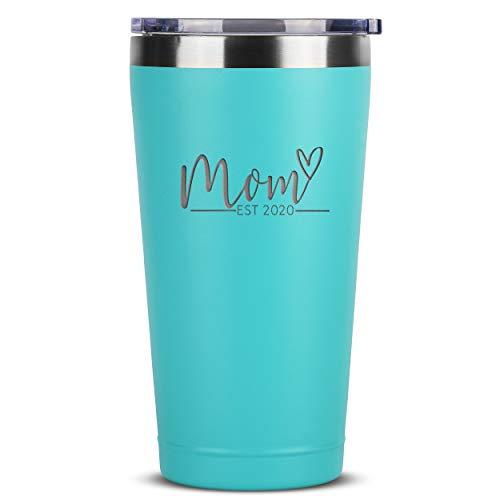 New Mom Gifts Ideas - Mom Est. 2020-16 oz Mint Stainless Steel Tumbler w/Lid - First Time Mommy w/New Baby Newborn Gift - Cute Expecting Mother to be Baby Shower Presents for Moms Pregnancy