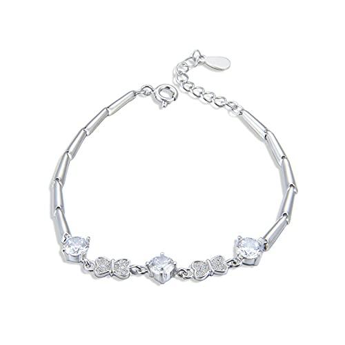 1 pulsera para mujer bowknot en forma de corazón diamante circón linda creatividad plata braclets