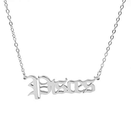 HUTINICE Old English Scorpio Sagittarius Cancer Zodiac Necklace for Women, 18K Gold Chain Horoscope Constilation Letter Necklace 22 inches Friendship Gifts