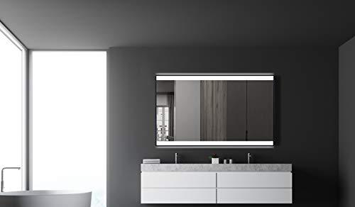 Talos Black Shine Badspiegel mit Beleuchtung, Matt Schwarz, 120 x 70 cm