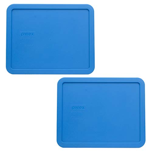 Pyrex 7212-PC Marine Blue Plastic Rectangle Replacement Storage Lids - 2 Pack