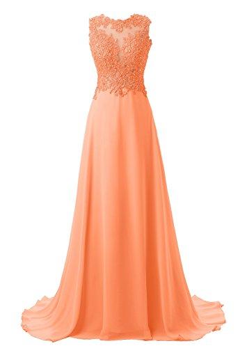 Callmelady Abendkleider Lang Spitze Elegant Damen Abiballkleid Cocktailkleid (Orange, EU44)