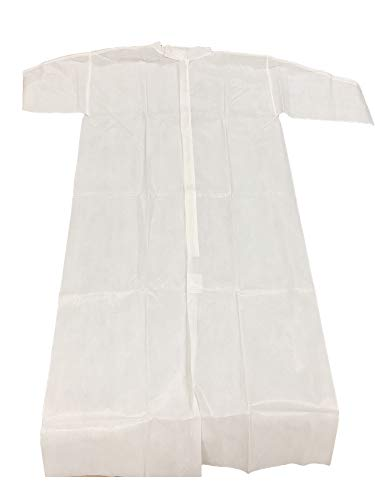 ABC Pack of 30 White Disposable Polypropylene Frocks Medium Size. Zipper Front, Storm Flap. Mandarin Collar. Unisex Lightweight Disposable Labcoats. Coated Visitor Coats for Industrial Use. Wholesale