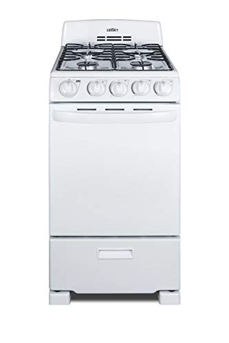 Summit Appliance RG200WS 20' Wide Gas Range in White with Sealed Burners, Electronic Ignition, Broiler Pan, Push-to-Turn Knobs, High Backguard, Anti-Tip Bracket, Broiler Compartment